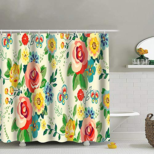 best bags Floral Girls Shower Curtain Set, Relaxing Summer Landscape Bathroom Decor,Shower Curtain Set Waterproof 60X72 Inch