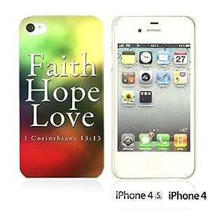 OnlineBestDigital - Typography Pattern Hard Back Case for Apple iPhone 4S / Apple iPhone 4 - Faith Hope Love