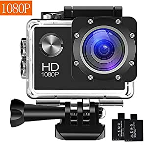 Action Camera 1080P 16MP Sports Cam - BUIEJDOG HD WiFi Waterproof Action Camcorder with 170°Wide Angle Lens 2 Rechargeable Batteries and Mounting Accessories Kits