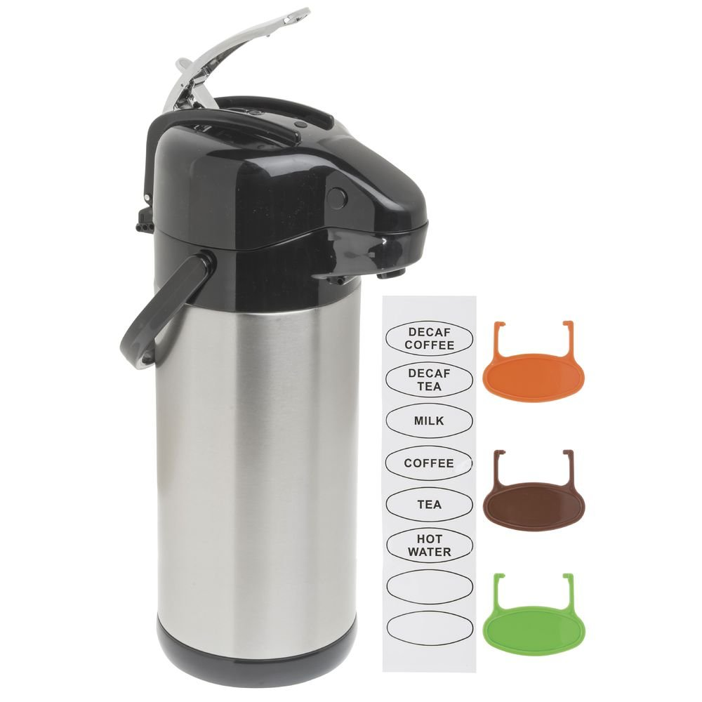 HUBERT Airpot Coffee Server with Lever Lid 3 Liter Stainless Steel Stainless-Lined