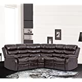 BestMassage Sectional Sofa Recliner Sofa With Recliner With 2 Reclining Seat For Home Living Room Large Classic And Traditional Furniture