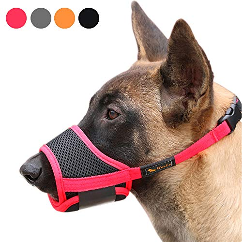 Heele Dog Muzzle Nylon Soft Muzzle Anti-Biting Barking Secure,Mesh Breathable Pets Mouth Cover for Small Medium Large Dogs 4 Colors 4 Sizes (L, Red)