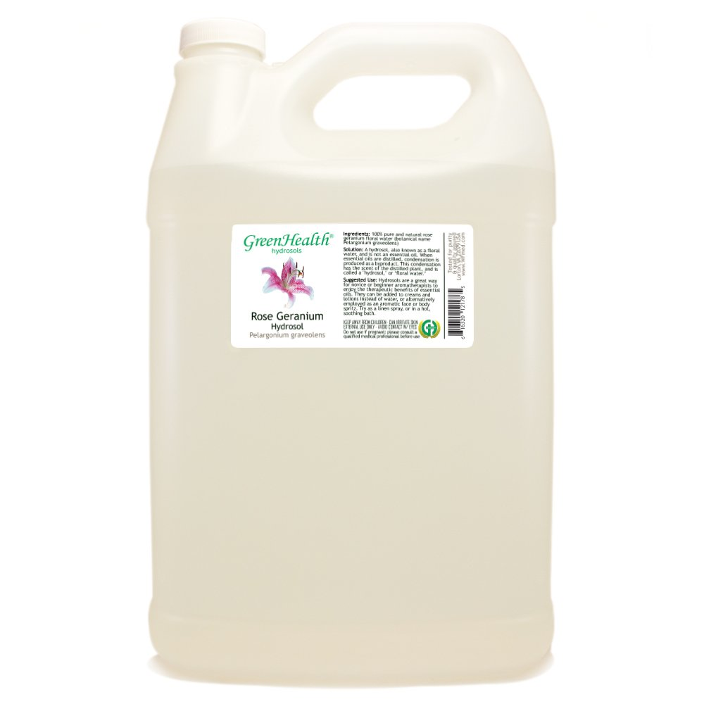 Rose Geranium Hydrosol - 1 Gallon Plastic Jug w/Cap - 100% pure, distilled from essential oil by GreenHealth