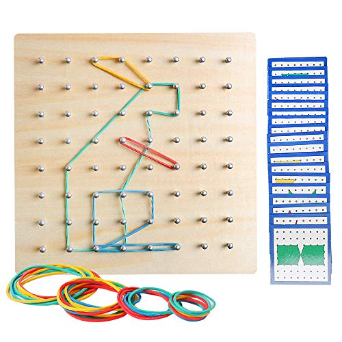 (JCREN Wooden Geoboard Mathematic Geometry Math Manipulative Array Block Peg Board Geoboard with Rubber Bands Montessori Educational Toy with 24Pcs Pattern Cards Matrix Puzzle 8x8 Early Development Toy)