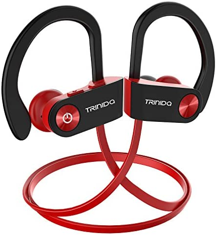 Bluetooth Headphone, TRINIDa IPX7 Waterproof Sport Wireless Headset for Running, Best in Ear Earbuds HiFi Stereo with Mic 8 Hours Playback Gym Workout Passive Noise Cancel Wireless Earphones, Red