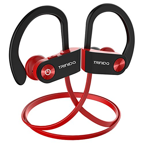 Bluetooth Headphone, TRINIDa IPX7 Waterproof Sport Wireless Headset for Running, Best in Ear Earbuds HiFi Stereo with Mic 8 Hours Playback Gym Workout Passive Noise Cancel Wireless Earphones