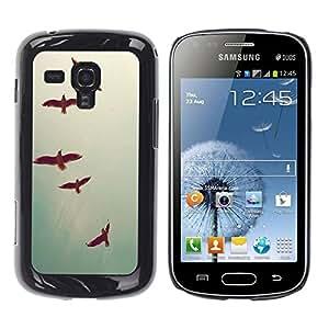 FECELL CITY // Duro Aluminio Pegatina PC Caso decorativo Funda Carcasa de Protección para Samsung Galaxy S Duos S7562 // Birds Sky Teal Freedom Deep Vignette
