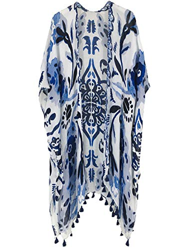 Stripe Kimono Dress - Moss Rose Women's Beach Cover Up Swimsuit Kimono Cardigan with Bohemian Floral Print