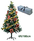 6FT Artificial Christmas Tree with a Storage Bag & 27pcs Free Decorations as Gift, Metal Stand 650 PVC Tips