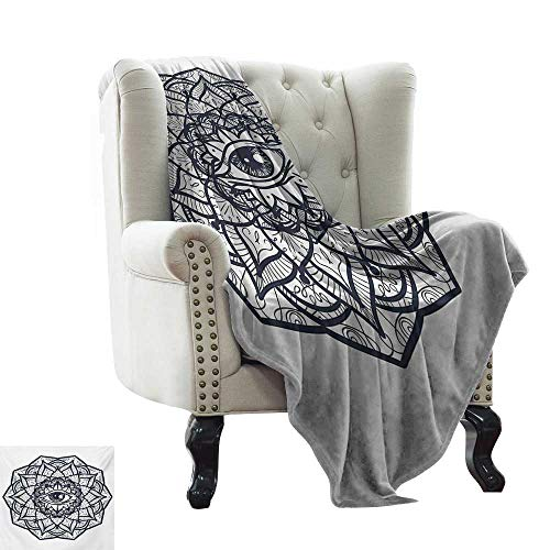 BelleAckerman Ultra Soft Flannel Blanket Occult,Abstract Ornamental Eye with Ethnic Mandala Form Providence Energy in Action Design,Black White Lightweight Extra Soft Skin Fabric,Not Allergic 60