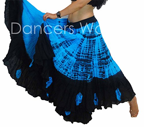 25 Yard Tribal Gypsy Cotton Belly Dancing Skirt ATS TIE DYE DESIGN SIZE US-CANADA 10 - 22, M to PLUS SIZE (BLACK TURQ)