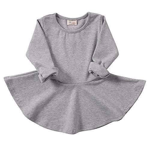 Daiermeng Baby Girls Dress Short Sleeves Cotton Casual Skirt Ruffled Pullover 6-48m (2-3Year(3T), Grey 1)