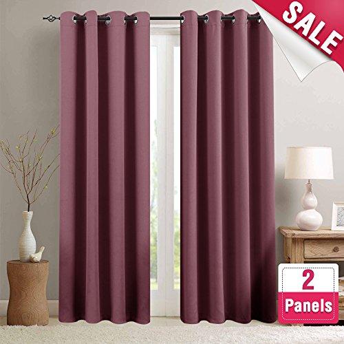 Room Darkening Curtains for Bedroom 84-inch Length Light Red
