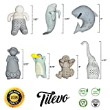 Tea Infuser, The Cute Loose Leaf Silicone Tea Strainer Set of 7 Tea Ball Filter Steeper with Gift Box by Tilevo - Includes Man & Animal Monkey Shark Elephant Manatee Platypus and Sloth