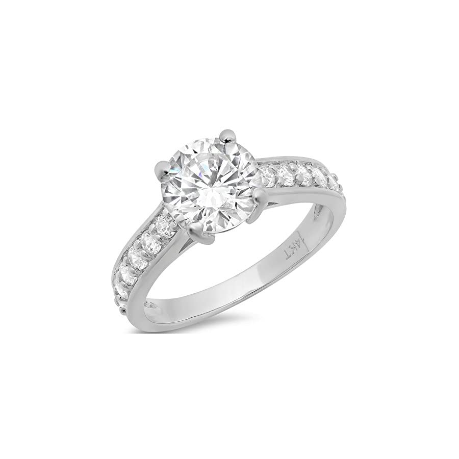 Clara Pucci 2.45 Ct Brilliant Round Cut Solitaire Promise Engagement Wedding Bridal Anniversary Ring Accent 14K White Gold