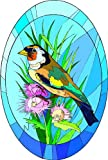 Colorul Bird Sitting in Pink Wildflowers-Etched Vinyl Stained Glass Film, Static Cling Window Decal