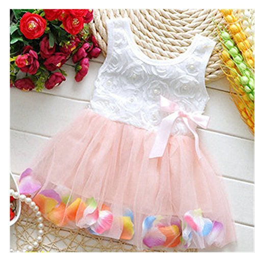 Price comparison product image KAKA(TM) Summer Lovely Baby Girls Pink Muslin Lace Floral Bowknot Dresses Princess Skirt