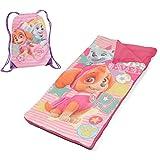 L&M Kids Girls Pink Nickelodeon Paw Patrol Themed Nap Mat Set, Skye Everest Cartoon Characters Cockapoo Husky Puppy Dog Motif Slumber Set, Fuchsia Yellow Green Light Travel Bed Roll, Polyester