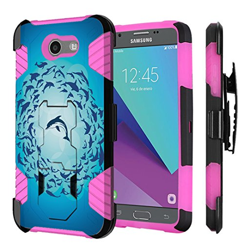Pink Dolphin Case (For Galaxy J3 Prime/J3 Emerge/J3 Luna Pro/J3 Eclipse/J3 Mission/J3 2017/Express Prime 2/Amp Prime 2/Sol 2 Case, Capsule-Case Black Pink Kickstand Case Holster (Dolphin Blue))