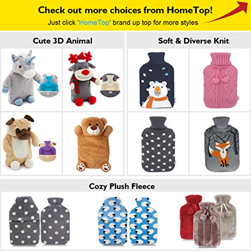 HomeTop Premium Classic Rubber Hot Water Bottle with Cute Unicorn Cover and Soft Fleece Cover (Gray Unicorn + Gray Polka Dot/Purple) by HomeTop (Image #6)