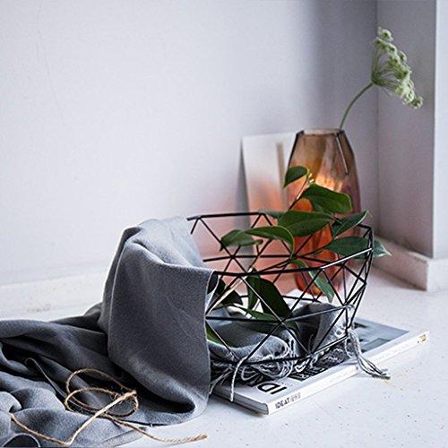 He Xiang Ya Shop Black iron storage basket simple living room hollow fruit basket desktop storage rack decorative ornaments by He Xiang Ya Shop (Image #2)'