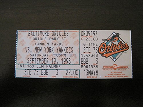 Ripkens Last Game - CAL RIPKEN JR Last Streak Game Ticket (09/19/1998)