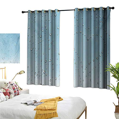 Clear Astoria Crystal (Turquoise Thermal Insulating Blackout Curtain Heart Shape Rain Droplets on Crystal Clear Window Glass Pure Love Valentines Romantic W55 x L63,Suitable for Bedroom Living Room Study, etc.)