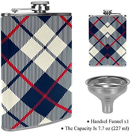 Petaca de cuero con bolsillo para whisky con embudo para camping, pesca, barbacoa, fiesta, bar, botella de vino, a cuadros, azul, beige