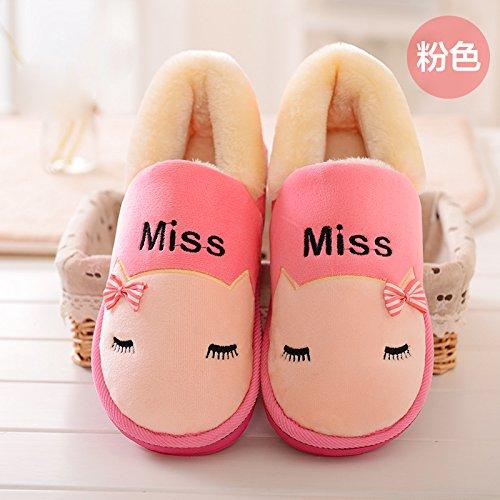Y-Hui l'inverno il cotone imbottito femmina scarpe addensata con suole spesse gli amanti della calzatura Home un caldo scarpe,Thirty-Seven,Rosa