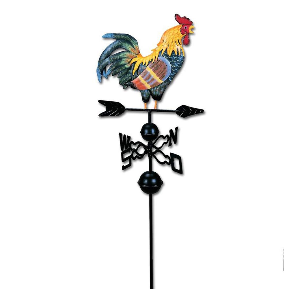 120 cm Weather Vane con Gallo Ornamento Gallo Weathervanes Jard/ín Ornamento Estructura Colorful Rooster Design Craft Weather Vane Wind Direction NANAD Rooster Weathervane