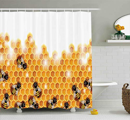 - Ambesonne Nature Shower Curtain by, Sweet Honey Bees Wax Abstract Insect of Spring Season Artwork Image, Fabric Bathroom Decor Set with Hooks, 70 Inches, Apricot Marigold White