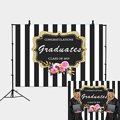 Daniu Graduation Party Backdrop Class of 2019 Black and White Stripes Photography Background Congrats Grad Prom Decorations Photo Studio Booth Props Cake Table Banner 7x5FT -