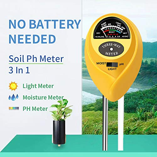 Soil pH Meter, 3-in-1 Soil Test Kit for Moisture, Light & pH, A Must Have for Home and Garden, Lawn, Farm, Plants, Herbs & Gardening Tools, Indoor/Outdoors Plant Care Soil Tester