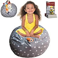 EXTRA LARGE Stuffed Animal Storage Bean Bag Cover | Lab Tested Product | The Ultimate Storage Solution To Clean Up & Organize Kid's Room | Free E-Book (Unisex Grey)