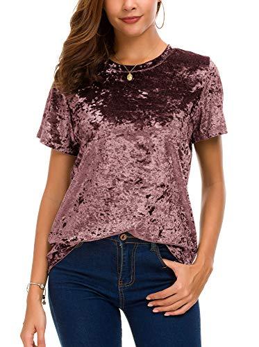 Women's Crew Neck Velvet Top Short Sleeve T-Shirt (S, - Velvet Crushed