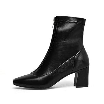 YAN Botas de Mujer Hilo de Punta Estrecha Botines elásticos Tacón Grueso Zapatos de tacón Alto
