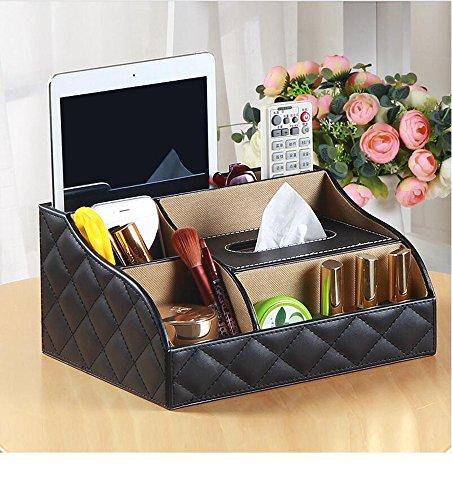 Remote organizer Remote holder tissue box holder make up organizer desktop storge PU leather (Black)