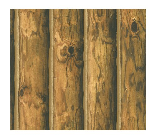 - York Wallcoverings CH7980 Lake Forest Lodge Mountain Logs Wallpaper - Ultra Removable