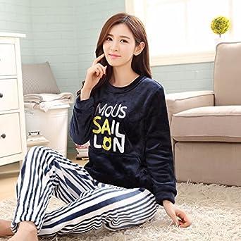 e3ee4c5906 Amazon.com: MH-RITA Winter Pajama Sets for Women Thick Warm Flannel Pajamas  Pants Cartoon Animal Pyjamas Long Sleeve Sleepwear Home Clothing  Autumn,6014,L: ...
