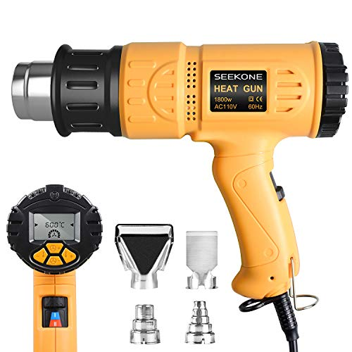 Heat Gun, SEEKONE 1800W Hot Air Gun Kit with Large Digital LCD Display Variable Temperature (120°F-1100°F) Memory Settings and Four Nozzles for Paint Remover/Stripper, Home Improvement/Restoration
