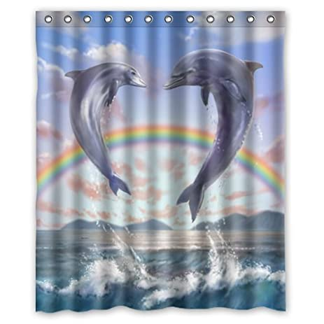 Amazing Durable Funny Cute Dolphin Art Theme 100% Polyester Waterproof Shower  Curtain, Shower Rings Included