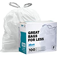 Plasticplace Custom Fit Bags │ simplehuman (x) TRA155WH Code F Compatible (100 Count) │ White Drawstring Garbage, Liners…