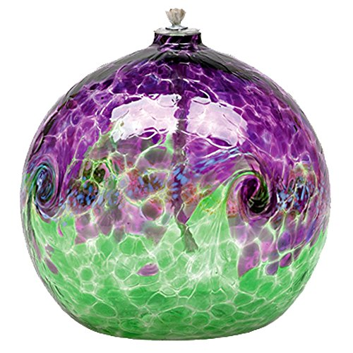 Kitras Art Glass 6'' Van Glow Oil Lamp Purple Green Swirls by Kitras Art Glass