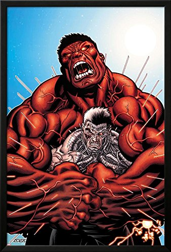 Avengers: X-Sanction No.3 Cover: Cable and Red Hulk Fighting Lamina Framed Poster
