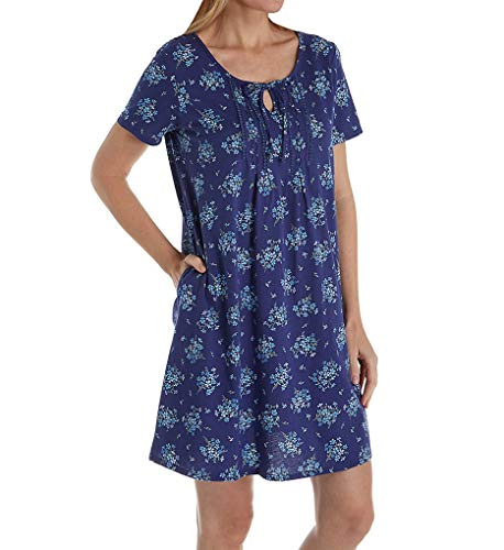 (Carole Hochman Spring Bunches Short Gown (CH21701) 1X/Navy Floral)
