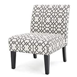 Farmhouse Accent Chairs Christopher Knight Home Kassi Fabric Accent Chair, Grey Geometric Patterned farmhouse accent chairs