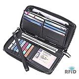 Womens Wallet Geunine Leather RFID Blocking Purse Credit card Clutch (Black_01)