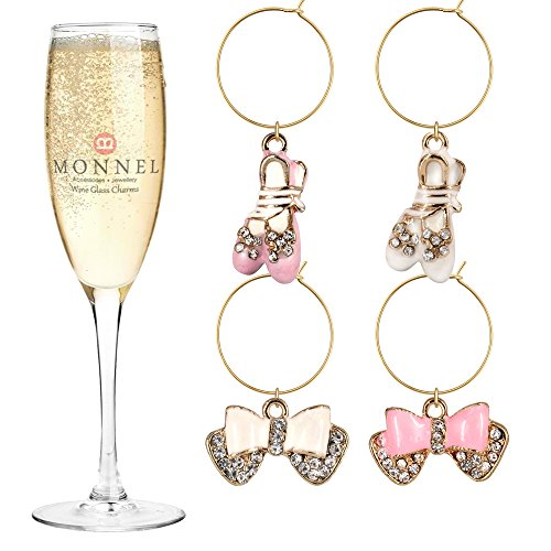- P414 Cute Pink White Crystal Bow Ballet Shoe Wine Charms Glass Marker for Party with Velvet Bag- Set of 4