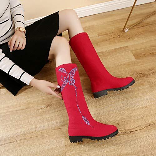 HOESCZS Damen Schuhe Design Damen Damen Damen Stiefel New Martin Bestickte Tuch Schuhe Lange Röhre Damen Stiefel Runde Kopf Flach Echt B07JK5P2N7 Sport- & Outdoorschuhe Großer Verkauf 45960a