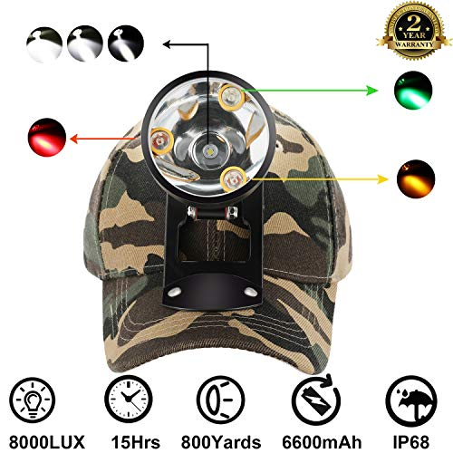 Cree LED Hunting Lights with Red & Green Hunting Light for Scanning Coons,Coyotes,Predators/Amber Light for Bowfishing/3 Powerful White Light for Night Outdoor Sports Premium Hunting -